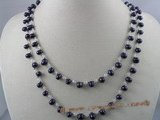 rpn021 6-7mm dark purple side-drill pearl with crystal beads long necklace