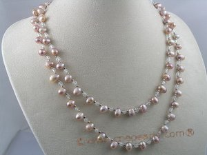 rpn022 6-7mm purple side-drill pearl with crystal beads long necklace