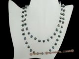 rpn023 6-7mm black side-drill pearl with crystal beads long necklace