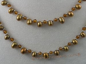 rpn024 6-7mm coffee side-drill pearl with crystal beads long necklace