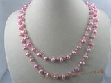 rpn025 6-7mm pink side-drill pearl with crystal beads long necklace