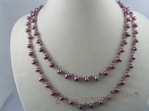 rpn026 6-7mm dyed purple side-drill pearl with crystal beads long necklace