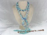 rpn027 48inch  8-9mm blue blister pearl and oval crystal long necklace