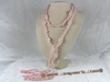 rpn038 48inch 4-5mm pink nugget pearls and rose quarts long necklace
