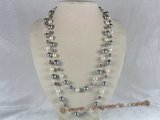 rpn043 48inch long shell pearl necklace in grey & white