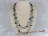 rpn044 48inch 10mm green shell pearls and black agate beads rope necklace