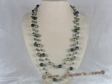 rpn045 48inch 10mm green shell pearls and agate beads rope necklace