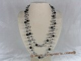 rpn046 48inch 10mm gray shell pearls and agate beads rope necklace