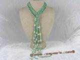 rpn087 Three strands green nugget pearl beaded long necklace with baroque pearl