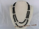 rpn089 black agate beads and potato pearl rope necklace