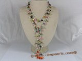rpn090 Two strands muti-colour side drill pearls rope necklace
