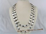 rpn094 white coin-shape pearl rope necklace with black agate