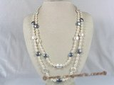 rpn095 white rice pearls long necklace althernate with 12mm coin pearl