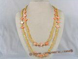 rpn096 golden double shiny pearls and shell beads opera necelace