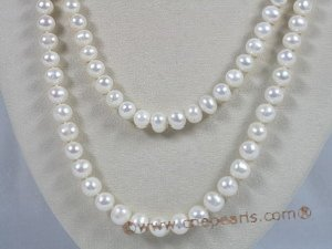 rpn097 8-9mm white potato shape cultured pearl Opera neckace