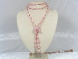 rpn099 rope pink nugget seed pearl necklace with silver fittings