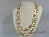 rpn100 12mm multi colour coin pearl long necklace--Summer Collection