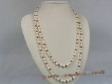 rpn101 6-7mm white potato pearl with crystal beads long necklace--Summer Collection