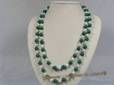 rpn102 8-9mm white potato pearl with malachite stone beads long necklace--Summer Collection