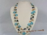rpn103 6-7mm white rice pearl with shell pearl and gemstone long necklace--Summer Collection