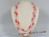 rpn104 9*11mm double shiny pearl with coral and crystal beads long necklace--Summer Collection