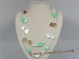 rpn105 4mm white cat eyes stone with shell beads long necklace--Summer Collection