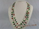 rpn106 12mm white coin pearl with gemstone beads long necklace--Summer Collection