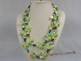 rpn108 Blister pearl with agate beads and crystal long necklace--Summer Collection