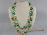 rpn109 moulti color Blister pearl with turquoise and crystal long necklace--Summer Collection