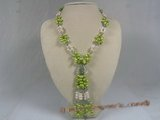 rpn110 Green side-drilled pearl and crystal beads rope necklace--Summer Collection