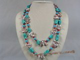 rpn111  purple biwa pearl with turquoise beads and coral long necklace--Summer Collection