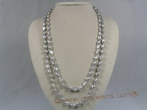 rpn116 8-9mm grey nugget cultured pearl Opera neckace