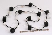 rpn118 Black leather cultured pearl with crystal beads long necklace