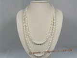 rpn129 Nature white 6-7mm round cultured pearl rope necklace in wholesale