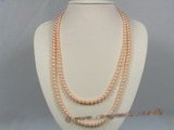 rpn130 Nature pink 6-7mm AAA Grade round freshwater pearl rope necklace wholesale