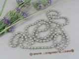 rpn136 7-8mm Grey rice shape cultured pearl rope necklace wholesale