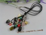 rpn141 Blcak leather gemstone necklace with freshwater pearl beads