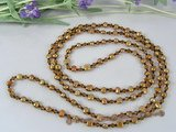 rpn143 6-7mm coffee nugget pearl with crystal beads rope necklace in wholesale