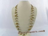 rpn145 Triple strands coffee nugget freshwater pearl opera necklace in wholesale