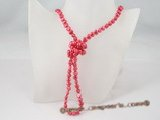 rpn151 Wine red freshwater nugget pearl rope necklace factory price selling