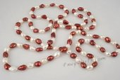 rpn168 Hand knotted 8-9mm white&wine red nugget pearl costume rope neckace