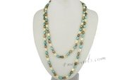rpn189 Fashion 8-9mm Freshwater nugget pearl hand knotted rope neckace