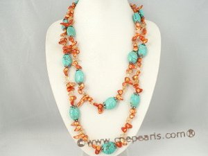 rpn200 hand knotted 7-8mm orange blister pearl and turquoise rope long necklace
