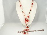 rpn201 hand knotted red and white blister pearl rope long necklace with red coral