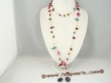 rpn205 White glass beads matching multicolor blister pearl long necklace