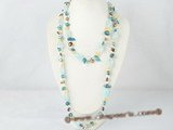 rpn207 Freshwater blister pearl and baroque crystal rope necklace