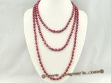 rpn216 wholesale 6.5-7.5mm wine red freshwater rice pearl rope necklace