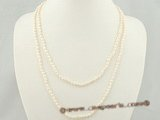 rpn217 white 3-4mm rice shape freshwater seed pearl rope necklace in factory price