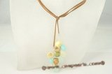 rpn225 Colourful 48 inch coin pearl and faceted crystal long adjustable necklace