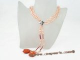 rpn236 hand knotted 5-6mm pink side-drilled pearl and coral opera necklace